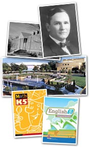 Collage of pictures of Bob Jones, the old campus, the new campus, and BJU Press textbooks.